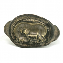 Indo-Greek bronze ring with bull