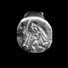 Hellenistic silver ring the bezel engraved with a warrior.