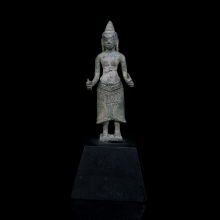 A Khmer bronze statuette of a female divinity, possibly Uma.