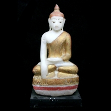 Burmese alabaster seated figure of a Buddha