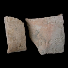 _-four-fragments-from-sumerian-clay-envelopes,-with-cuneiform-inscription._x8591c