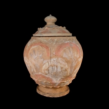A Chinese Song to Yuan painted terracotta lidded vessel in Lotus form
