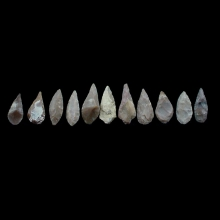 A collection of ten (10) chert stone arrow heads. Vakhsh culture