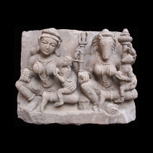 A finely carved sandstone sculpture of a pair of yoginis