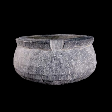 A large Bactrian steatite bowl, unusual in that it is unfinished.