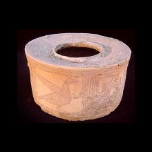 A superb Indus Valley buffware pottery jar with painted designs featuring birds and interlocking geometric designs in brown pigment