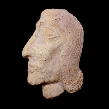 A terracotta head of a nobleman in profile