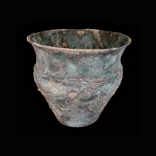 An Indo-Iranian bronze vessel with rope design decoration at mid-section