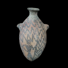 an-indus-valley-pottery-askos,-with-linear-and-figurative-designs_x8396a
