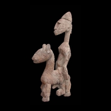 An old Bamana wooden equestrian figure
