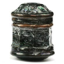 A Roman amber glass lidded Pixide
