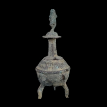 Bactiran bronze votive Kohl container the stopper in the form of a dancing deity