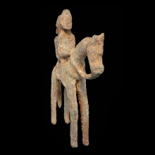 Dogon bronze equestrian figure with male and female
