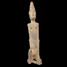 Dogon bronze figure of a seated female