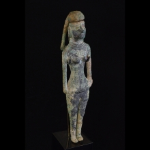 Important Bactrian bronze figure of a standing female Goddess