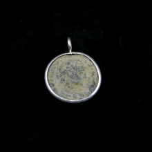 Constantine I the Great 307-337 AD bronze coin set in silver mount as a pendant.