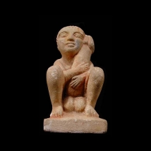 Egyptian painted limestone ithyphallic figure, Roman period