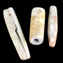 A group of three Hongshan fossilised shell beads
