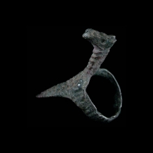 Anatolian bronze archers ring with stylised horse figure