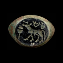 Indus Valley seal ring with unicorn and script