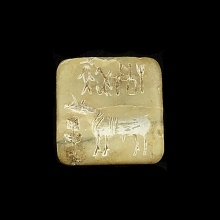 Indus Valley stone seal with unicorn and script