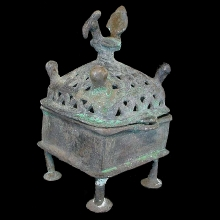Islamic bronze incense burner, open work lid with cockerel