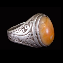 Islamic Persian engraved silver ring with coral bezel