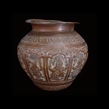 Kashmiri copper bowl depicting deities in repousse work