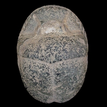 Large granite scarab underside with Hieroglyphic text.