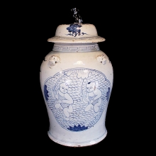 Large Qing blue and white glazed lidded vessel with young boys