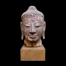 Magnificent Cambodian wooden head of Buddha, post-Khmer period