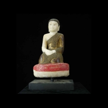 Mandalay carved alabaster seated monk statue.