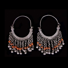 Pair of Pashtun silver tribal earrings with coral beads