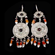 Pair of Persian silver earrings with garnet inlay