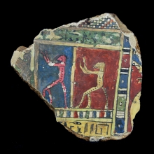 Romano-Egyptian linen and gesso-painted cartonnage fragment