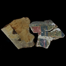 A group of Romano-Egyptian linen and gesso-painted cartonnage fragments