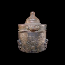 Pretty Khorassan bronze ink pot, Greater Persia