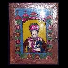 Romanian folk art glass icon depicting a saint