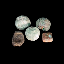 Set of five (5) Bactrian bronze weights