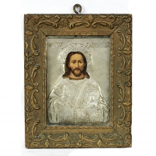 Greek silver alloy and wooden icon depicting Jesus