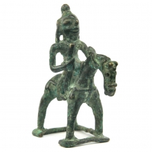 A South Indian brass figure of a warrior on horseback