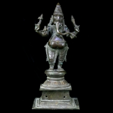 Finely cast Indian bronze statue of Ganesha