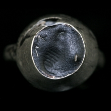 Indo-Greek silver ring engraved with elephant and inscription