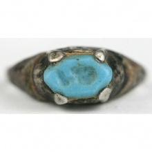Indo-Greek silver ring with turquoise bezel