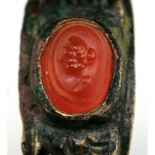 Hellenistic bronze ring with carnelian bezel
