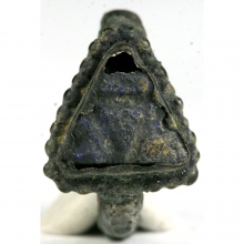 A Gandharan silver ring depicting the lapis bezel depicting a Stupa