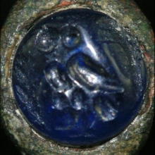 Hellenistic bronze ring with sapphire bezel