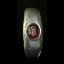 Hellenistic silver ring with garnet bezel