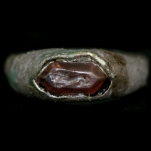 Hellenistic bronze ring with garnet bezel