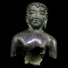 Rare North Indian bronze bust of Buddha
